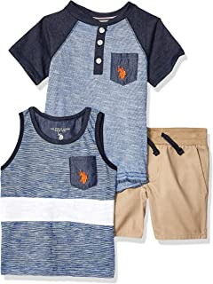 U.S. Polo Assn. Boys 3 Piece Henley T-Shirt, Tank Top, and Short Set Shorts Set - Blue