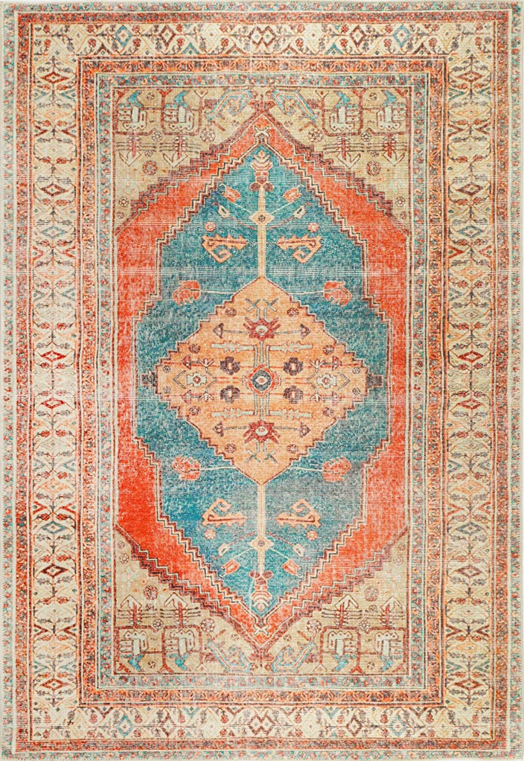 Attention brand Distressed Louvre Rustic Blue Classic Rug- Perfect for Living Rooms Bed