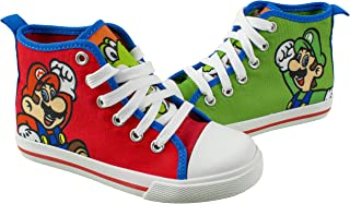 Super Mario Brothers Mario and Luigi Kids Shoe, Nintendo Hi Top Tennis Shoes Sneaker with Laces,Toddlers and Kids, size 7 to 3