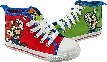 SUPER MARIO Brothers Mario Luigi Kids Shoe, Nintendo Hi Top Sneaker Laces,Toddlers Kids, Size 7 to 12
