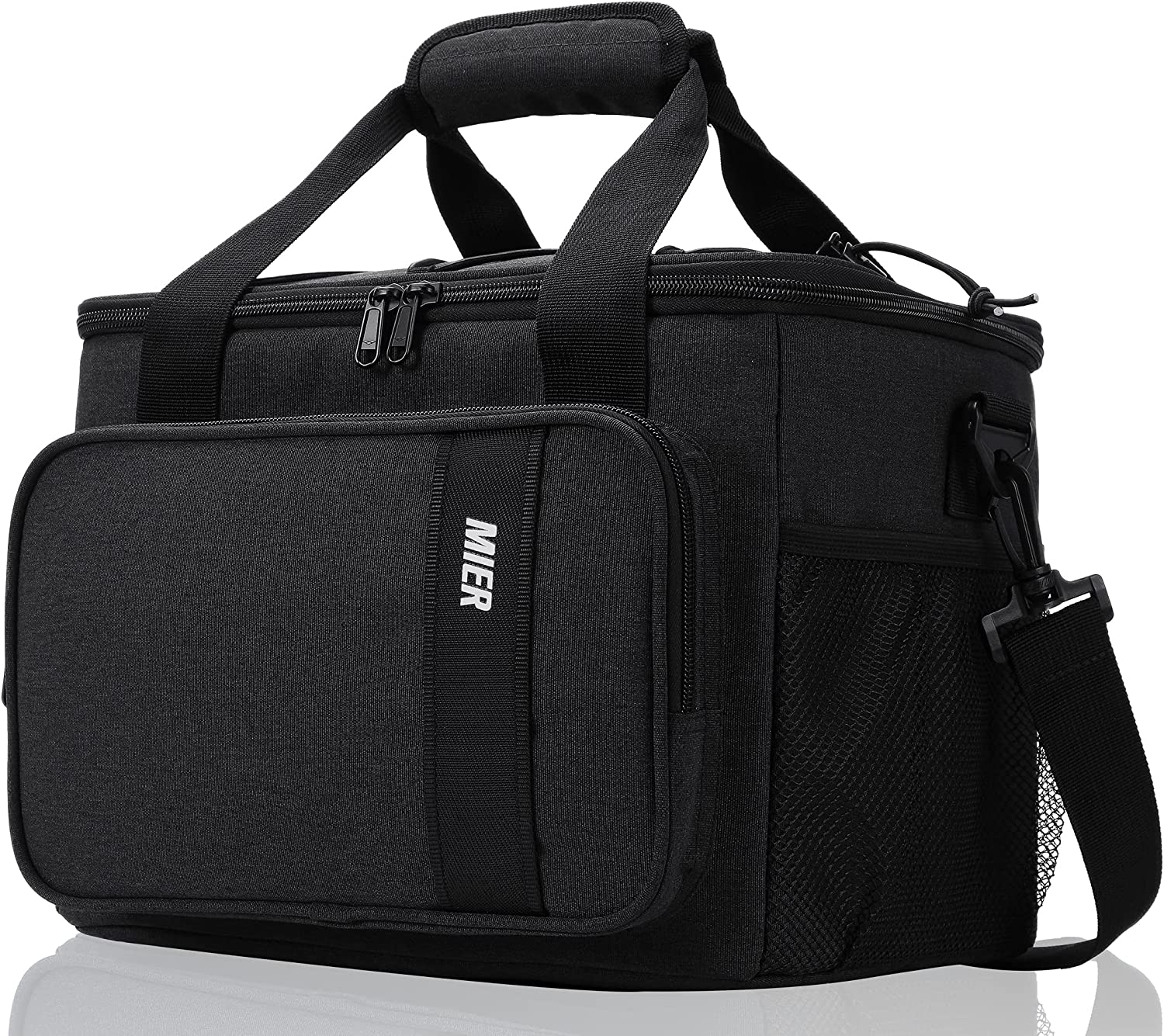 MIER Insulated Lunch Cooler Bag for Men Women, 24 Can Large Lunch Bags Tote Leakproof Lunchbox Coolers for Work Travel Picnic, Dark Gray
