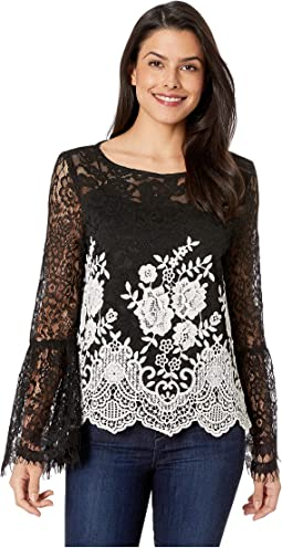 Contrast Border Lace Top