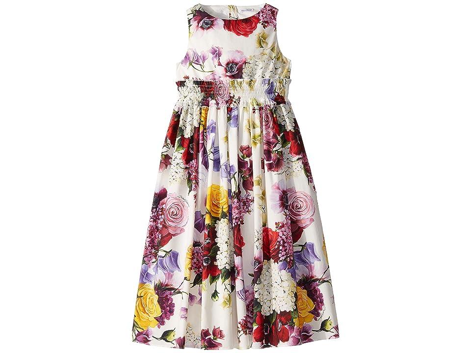 Dolce & Gabbana Kids Floral Dress (Big Kids) (White/Multi) Girl
