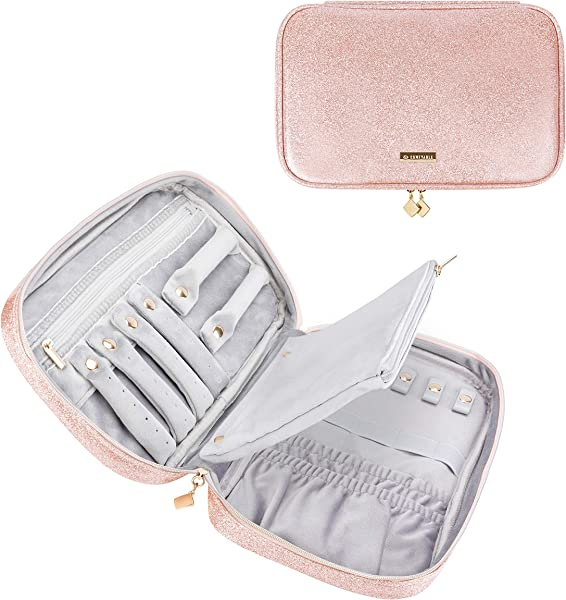 Comfyable Jewelry Travel Case Bag Jewelry Organizer For Necklace Earrings Rings Bracelet Pink Glitter