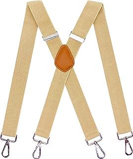 MENDENG Vintage Bronze 4 Swivel Hook Suspenders for Men Adjustable Braces Strap