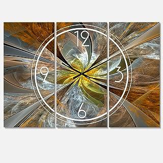 Designart Symmetrical Yellow Fractal Flower Wall Art Design Modern 3 Panel Wall Decorative Clock - Home Decorations for Home, Living Room,Bedroom, Office Decoration Multi Panel Metal Wall Clock