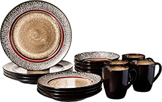 American Atelier Markham Square Casual Round Dinnerware Set – 16-Piece Stoneware Party Collection w/ 4 Dinner Salad Plates...