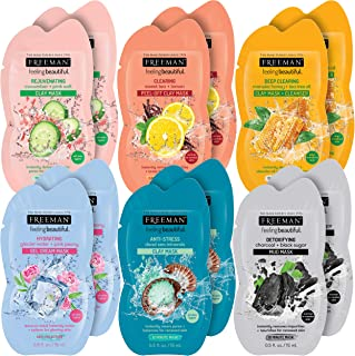 Freeman Beauty Facial Mask Variety Pack: Clay, Peel-Off, Gel, and Mud Beauty Face Masks, 12 Count