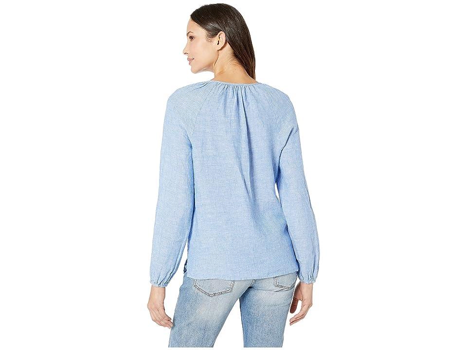 NYDJ Linen Peasant Blouse (Hammock Stripe) Women's Blouse, Blue