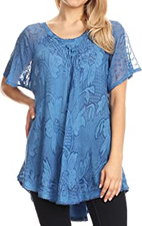 Maliky Wide Corset Neck Floral Embroidered Cap Sleeve Blouse Top Shirt