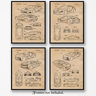 Original BMW M1, I8, Concept Patent Art Poster Prints, Set of 4 (8x10) Unframed Photos, Great Wall Art Decor Gifts Under 20 for Home, Office, Garage, Man Cave, Student, Teacher, Cars & Coffee Fan