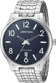 Men's 20/5221NVSV Date Calendar Dial Silver-Tone Expansion Band Watch