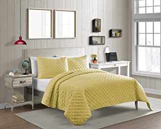 Cozy Bed Vibrant Color Solid Pinsonic Diamond Quilt Set, Queen, Yellow