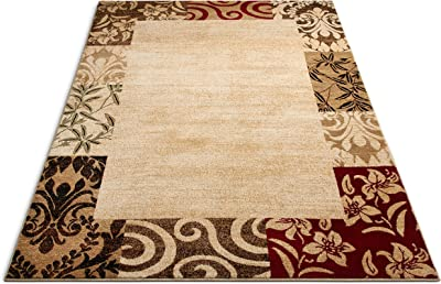 """Well Woven Barclay Vane Willow Damask Beige Modern Area Rug 7'10"""" X 9'10"""""""