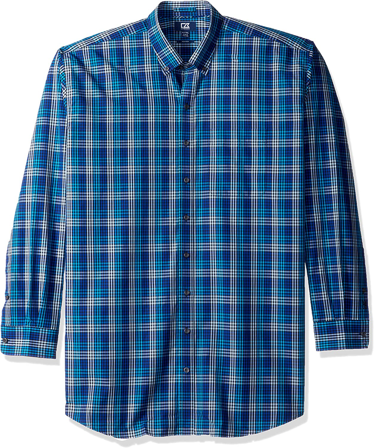 Cutter Buck Men's Medium Plaid and Check Down Button Easy Max 49% OFF Care lowest price
