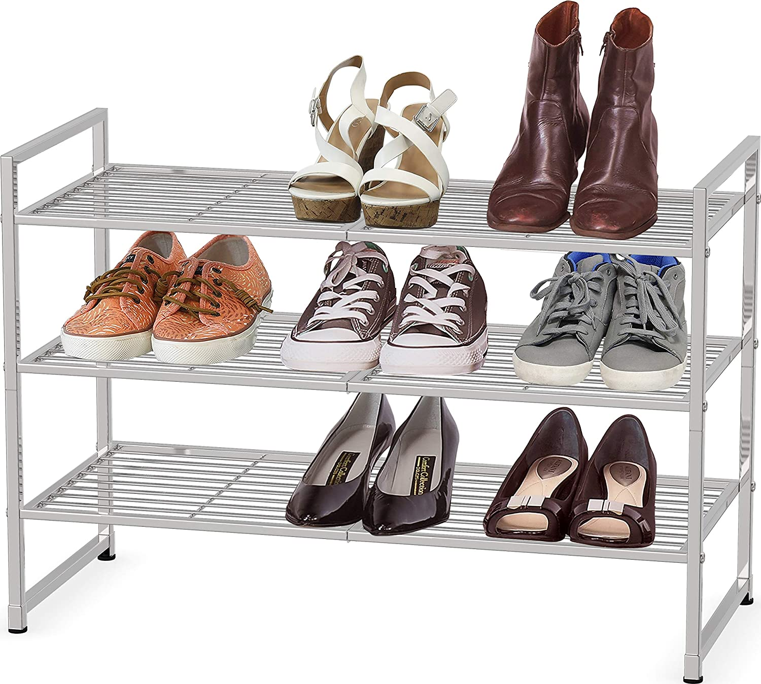 Simple Credence Direct stock discount Houseware 3-Tier Stackable Shoes Shelf Rack Storage Silv