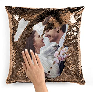 Best Custom Sequin Pillow Cover Design Mermaid Reversible Covers Personalized Photo Case Magic Decorative Throw Pillows Picture Name Cushion for Couch Home Sofa Party Gifts 16x16 18x18 Champagne Gold Review