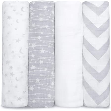 Muslin Swaddle Blankets Neutral Receiving Blanket for Boys and Girls Pink by Comfy Cubs (Grey)