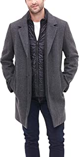DKNY Men's Wool Blend Coat with Removable Quilted Bib