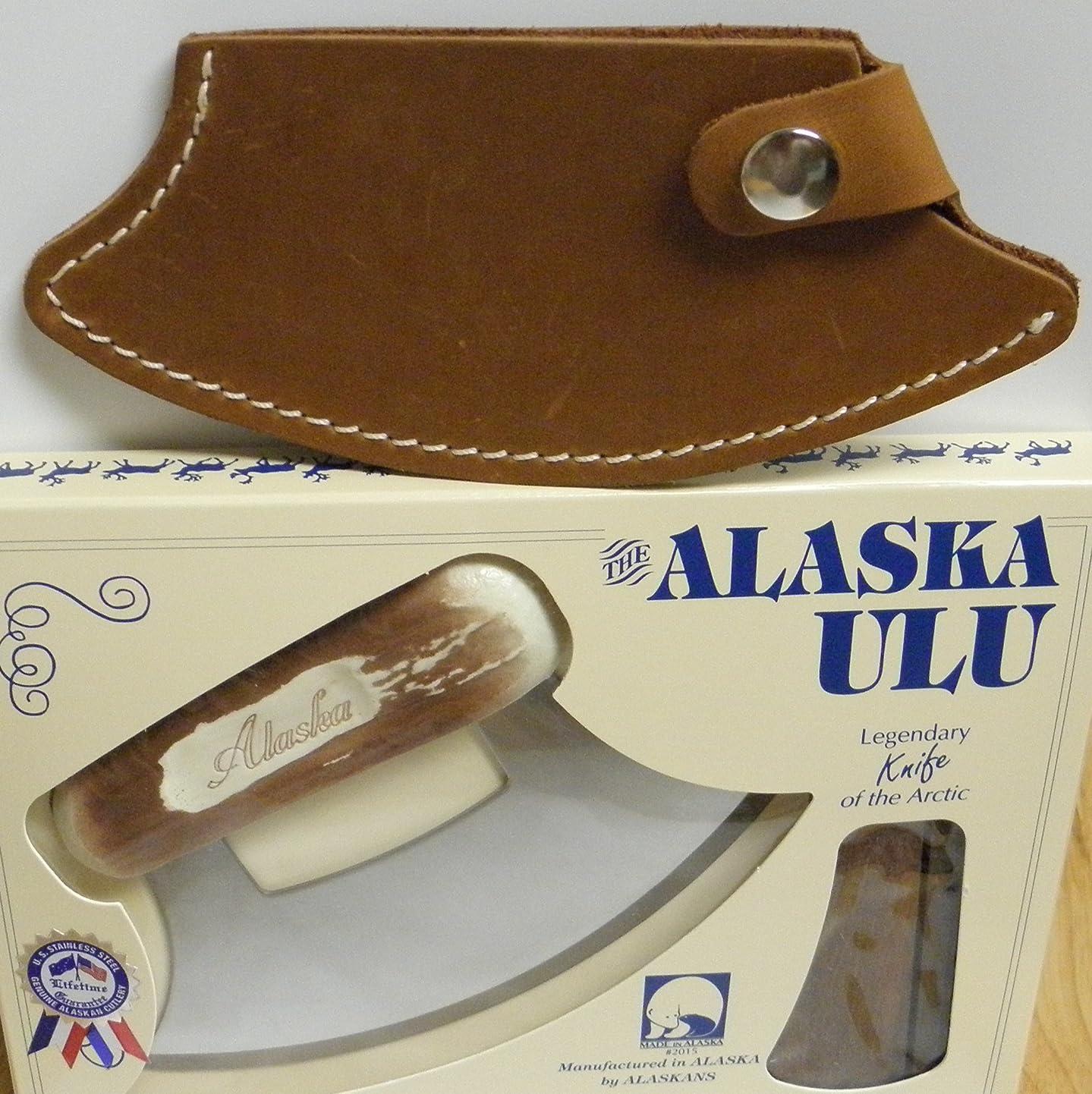 Cultured Moose Antler Handled Ulu with Leather Sheath (Light Brown) plyxhwsxgsy4