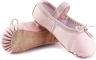 DIPUG Genuine Leather Ballet Shoes for Girls Ballet Slippers for Toddler Dance Shoes
