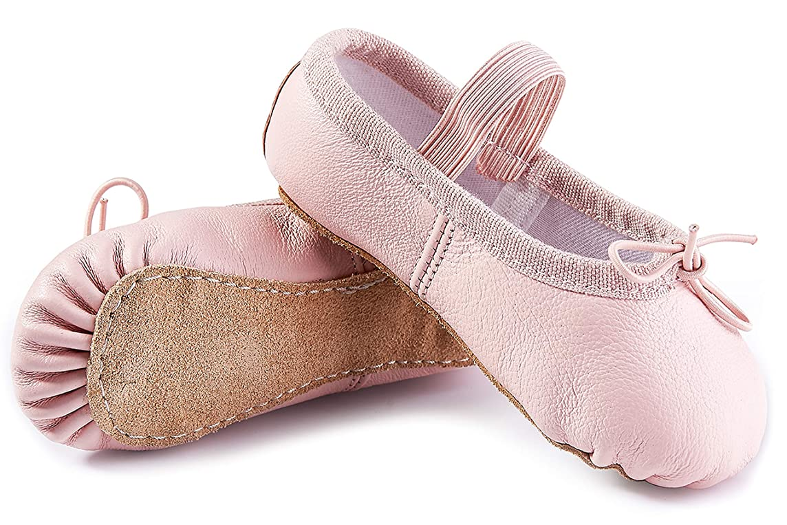 DIPUG Leather Ballet Shoes for Girls Full Sole Ballet Slippers for Toddler