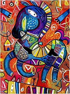 Eduardo Andriacci   Caballito Bebe, pintura de serigrafía giclee, 14x19cm con 5cm de maria luisa
