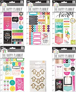 Create 365 Happy Planner Stickers Bundle - Mom Boss, What's for Dinner, I Love Today, Gratitude, Boss Babe and Planner Clips - 6 Items