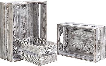MyGift 16 x 12 Inch Vintage Whitewashed Wood Nesting Storage & Accent Boxes, Set of 3