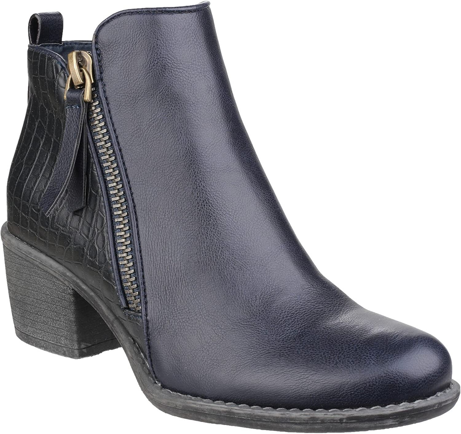 Divaz Womens Ladies Dench Zip Up Reptile Skin Ankle Boots