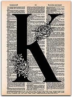 K - Monogram Wall Decor, Letter Wall Art, Dictionary Page Art Print, UNFRAMED