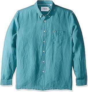 Lacoste Men's L/S REG FIT Solid Button Down Linen Shirt, Tide Blue, S