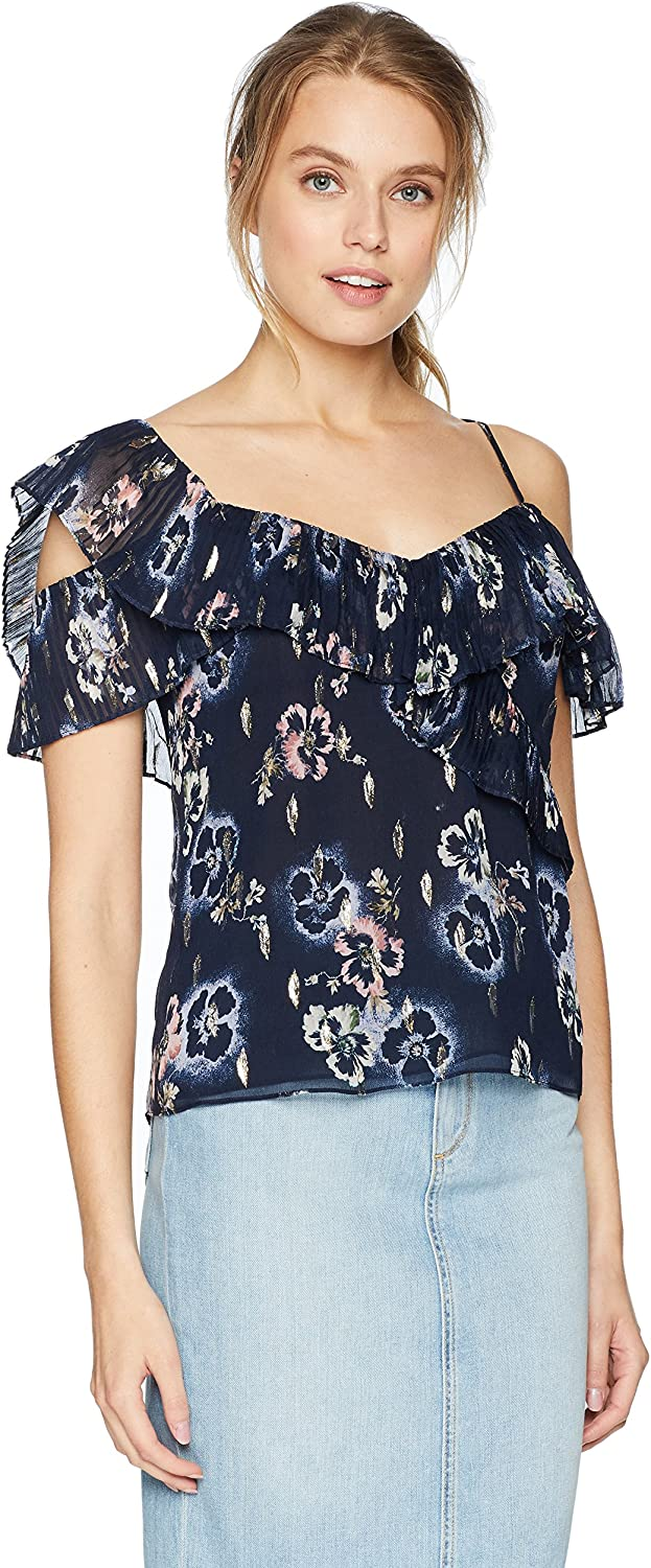 Rebecca Taylor Womens Sleeveless Faded Floral Top Blouse