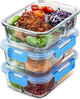 Glass Meal Prep Containers 3-Compartment - 3-Pack 32 Oz. Freezer to Oven Safe Airtight Food Storage Container Set with Hinged Locking Lids BPA Free, Great On the Go Portion Control Lunch Containers