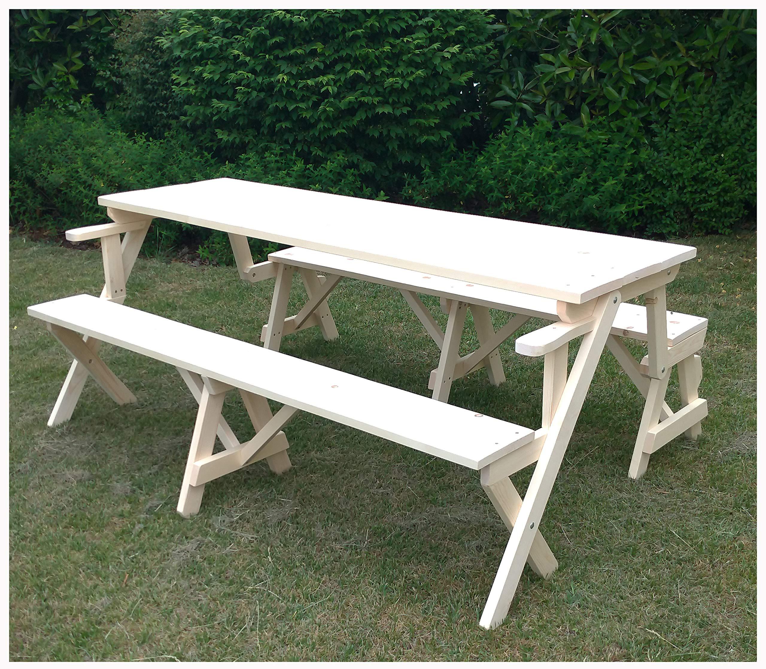 Mesa de picnic con bancos de madera de jardín convertible en un banco individual 70 x 132 x 76h: Amazon.es: Jardín