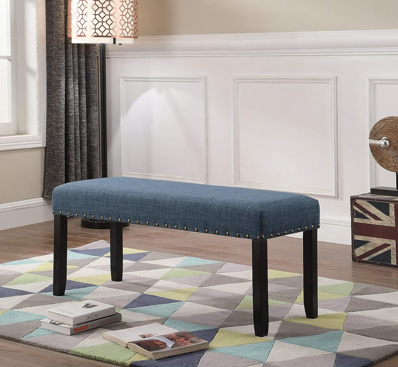 Roundhill CB162BU Biony Fabric Dining Bench with Nailhead Trim, bluee, bluee