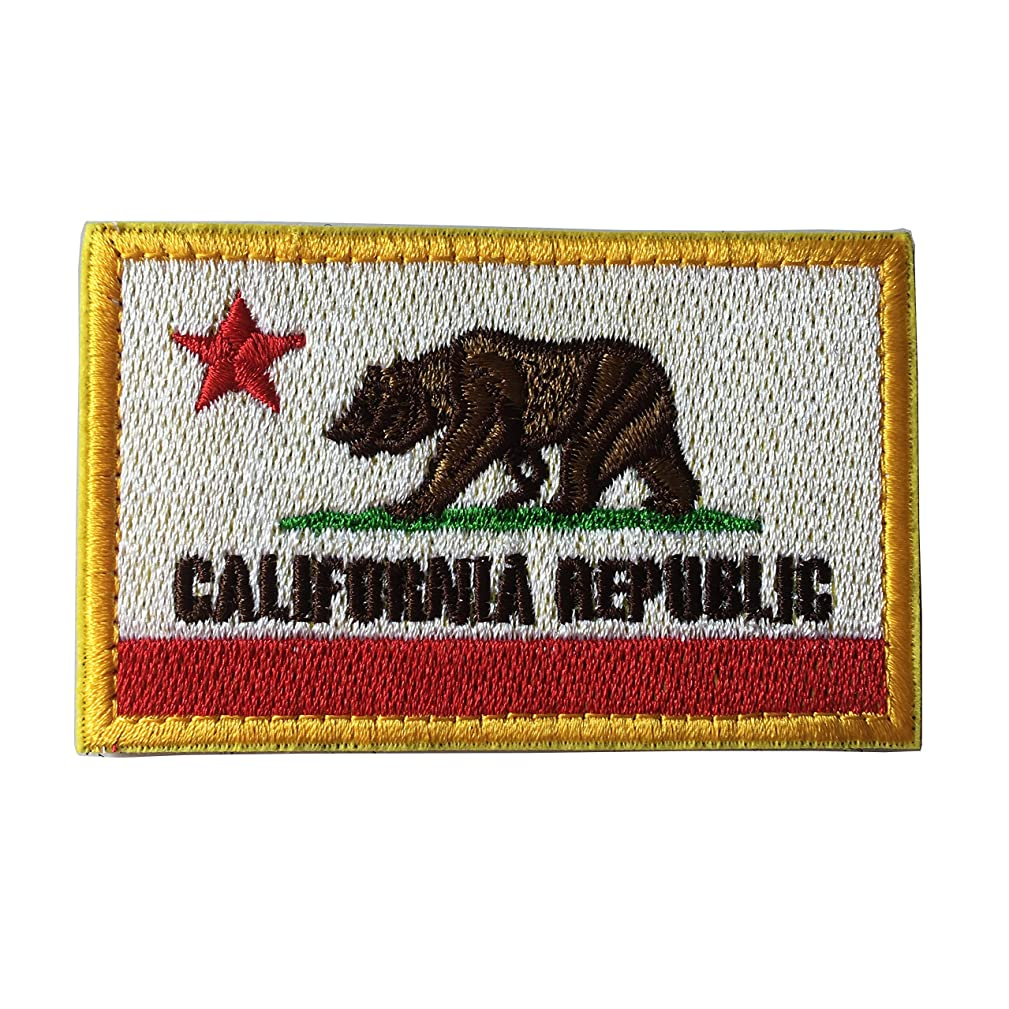 California Flag Bear Symbol Tactical Morale Military Emblem Hook and Loop Patch (A-Red and White)