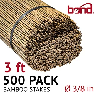 Bond Manufacturing N308 500-Pack Natural Bamboo, 3-Feet by 3/8-inch, 3 ft