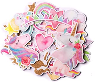 Navy Peony Magical Rainbow Unicorn Stickers (34 Pieces) | Cute Sticker Pack for Party Favors and Scrapbooking | Kawaii Princess Stickers for Girls | Waterproof Stickers for Water Bottles and Laptops