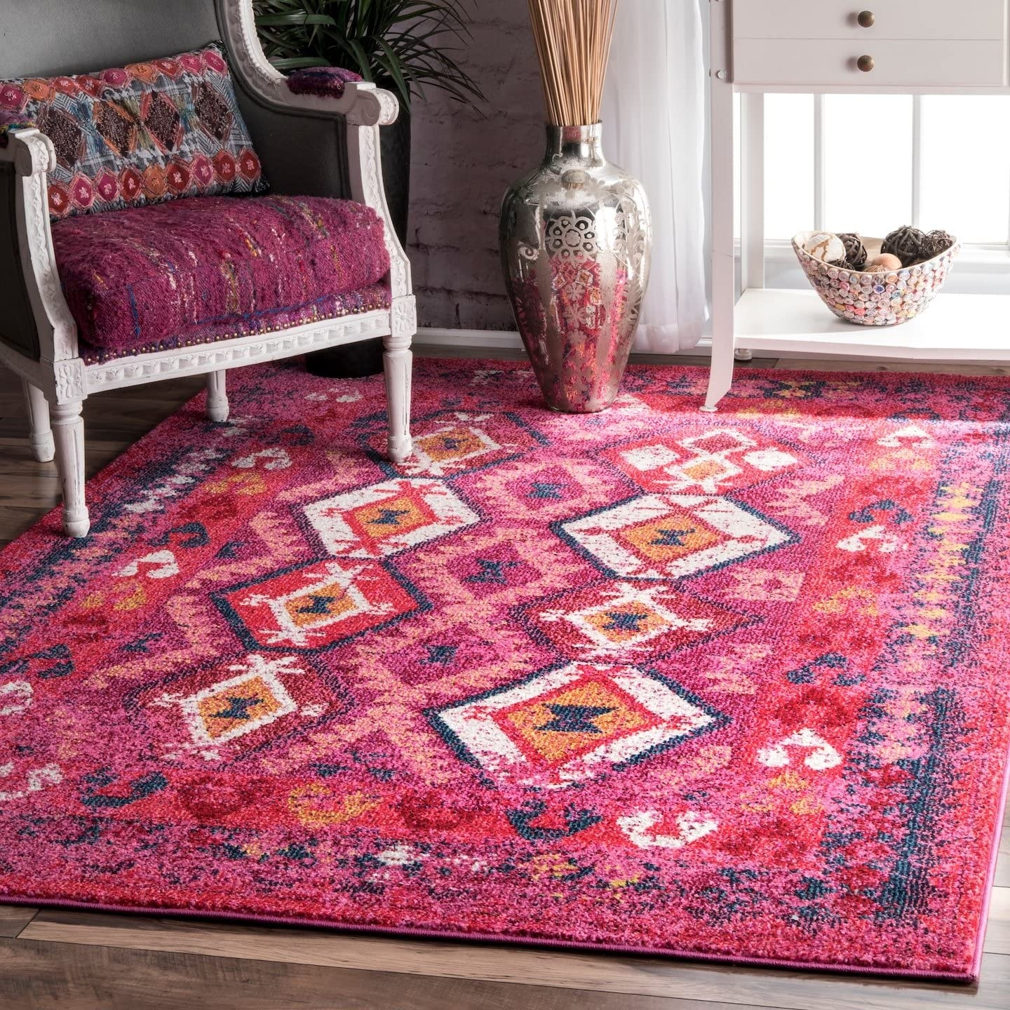 nuLOOM Mayola Tribal Spring new work one after another Area wholesale Rug Pink x 4' 6'