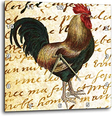 15 by 15-Inch 3dRose dpp/_49838/_3 Big Red Rooster Farm Animal Art Wall Clock