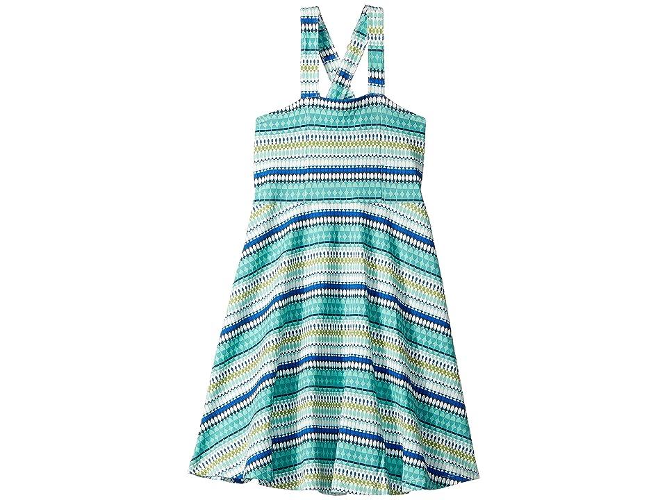 Toobydoo Skater Dress (Toddler/Little Kids/Big Kids) (Blue Geometric Print) Girl
