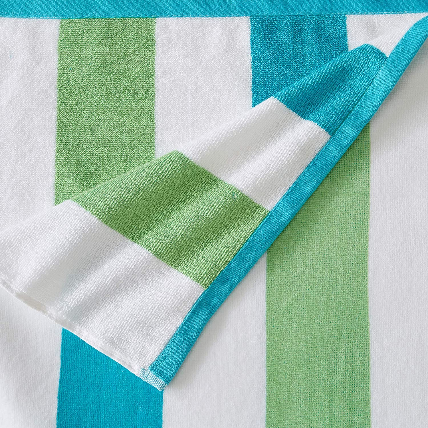 4 Pack Reversible Plush Velour 100/% Cotton Beach Towels Sunset Bay Collection Aqua//Green Cabana Stripe Pool Towels for Adults 30 x 60
