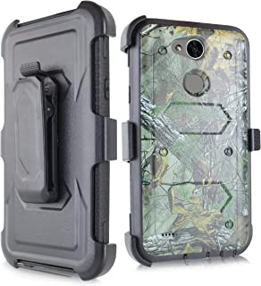 Compatible for LG X Power 2 M320/LG Fiesta LTE/LG X Power 3, 6goodeals Heavy Duty Armor Shockproof Protection Case Cover with Belt Swivel Clip Kickstand (Camo)