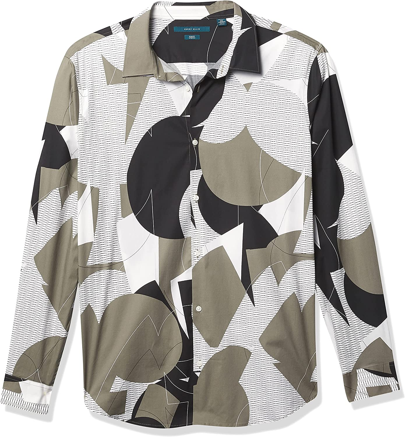 Perry Ellis Men's Slim Fit Abstract Grate Print Long Sleeve Stretch Button-Down Shirt