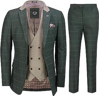 Mens Classic 3 Piece Tweed Suit Olive Green Herringbone Check Retro Smart Tailored Fit[Evan,Green,UK/US