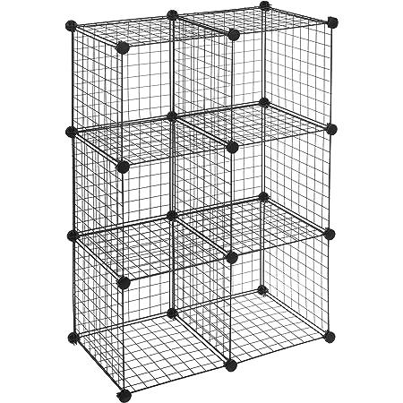 Amazon Basics 6 Cube Grid Wire Storage Shelves, Black