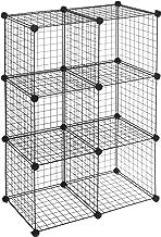 AmazonBasics - Estantes de almacenamiento, Seis cubos, de alambre - Negro