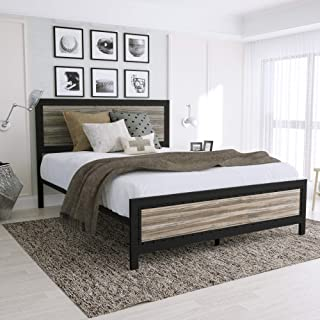 Amooly Full Metal Bed Frame with Wood Headboard Platform Bed Frame/Strong Slat Support/Easy Assembly/Box Spring Optional(Full)