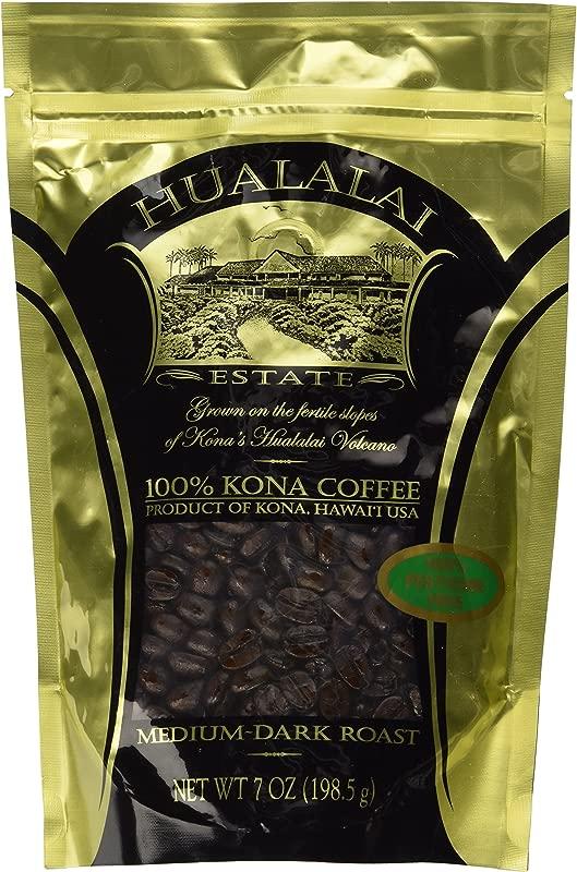 Hualalai Estate 100 Pure PREMIUM Kona Coffee Medium Dark Roast 7oz WHOLE BEAN
